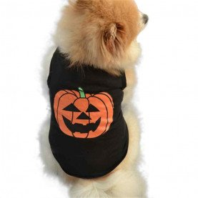 Pet Clothes Pet Dog Halloween Festivals Pumpkin Cotton Black Vest T-shirt Clothes Pets Acessorios 17AUG23