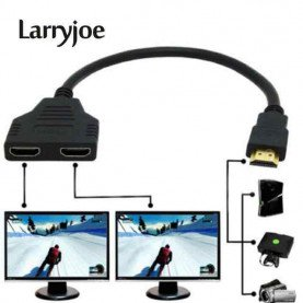Larryjoe New Arrival Cable HDMI Splitter Cable 1 Male To Dual HDMI 2 Female Y Splitter Adapter in HDMI HD LED LCD TV 30cm